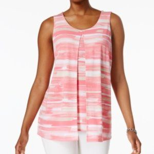 Charter Club Striped Split-Front Top